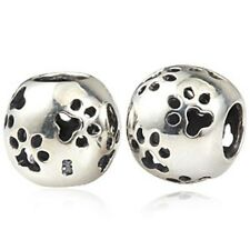PAW PRINT CAT DOG Genuine 925 Sterling Silver Charm Bead Fits European Bracelet