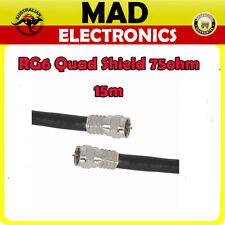 15m High Quality RG6 Quad Shield Lead with Crimped Connectors