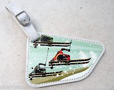 m SKI skier TRIO Coelacanth Luggage Tag ID holder Vegan Leather travel bag