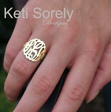 Monogram Initials Ring (Order Your Initials) - 24K gold and Sterling Silver