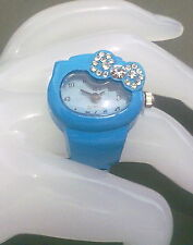 OROLOGIO ANELLO DONNA CELESTE FIOCCO A ZIRCONI HELLO KITTY MODA IDEA REGALO