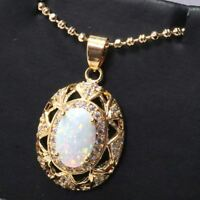 4 Ct Oval White Opal Necklace Women Jewelry Gift 14K Rose Gold Plated Free Ship