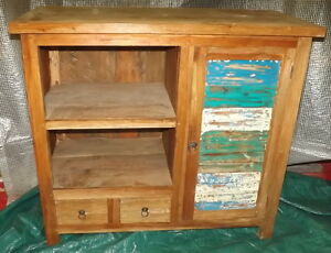TV Cabinet Or for Bathroom 100x45x90h Teak Solid Wood Retrieving Boats Cabinet