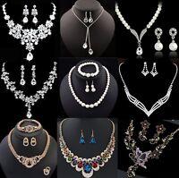 Fashion Women Bib Choker Statement Pearl Necklace Set Earrings Wedding Jewelry