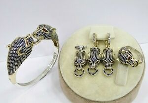 Tiger Jewelry Set, Sterling Silver 925 Handmade Sapphire Set Ring Size 6-11