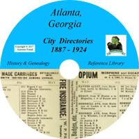 ATLANTA Georgia CITY DIRECTORY - History & Genealogy - 26 Books on CD DVD