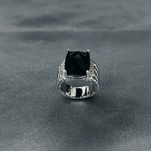 David Yurman Sterling Silver Black Onyx Wheaton Ring Size 8