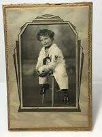 Vtg Photograph Photo Adorable Curly Hair Boy Child Lad Sailor Suit w/ Folder