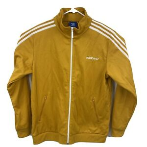 ADIDAS Originals Men's Sz L Full Zip Warm Up Track Jacket Gold White Soccer