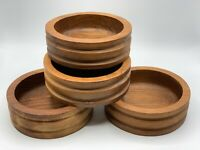 Lot of 4 Stunning Mid Century Modern Original Carved TEAK Good Wood Salad Bowls