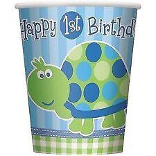 1. Geburtstag Schildkröte blau bitte Wählen Pappbecher 256 Ml - 8 Stk.