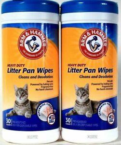 (2) Arm & Hammer Heavy Duty Litter Pan 30 Count Scrubbing Fibers Towels
