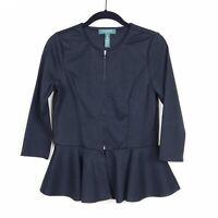 Lauren Ralph Lauren Women's Black Zip Front Peplum 3/4 Sleeve Blazer Jacket PS