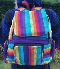 Unisex Black Purple Rainbow Stripe Backpack, Rucksack Bag Hippy Boho Festival