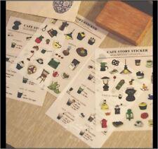 Set of 4PCS - Cafe Story Plastic Sticker Scrapbook Traveler Journal DIY Decor