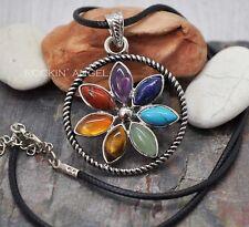 7 Chakra Healing Stones Flower Pendant Necklace Reiki Healing Gem Gift crystal