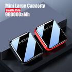 Mini 900000mAh Power Bank LCD LED USB Portable External Battery Backup Charger