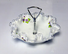 Fenton Candy Dish Hand Painted J.Edwards Floral