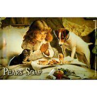 PEARS' SOAP :EMBOSSED(3D) METAL ADVERTISING SIGN 30X20cm BREAKFAST, CAT &  DOG