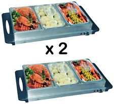 2 x Stainless Steel 3 Pan Buffet Server Warming Tray Hot Food BS100