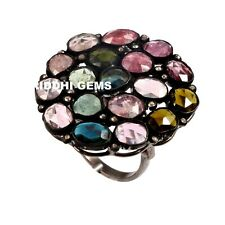 925 Sterling Silver Rose Cut Diamond Natural Multi Tourmaline Gemstone Ring 369