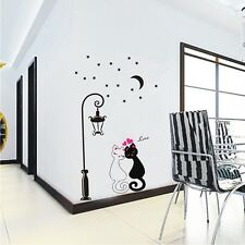 2016 Cute Warm Couples Cats Cartoon Wall Sticker Kids Children's Room Decor