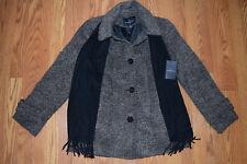 NWT Womens London Fog Brown Tweed Wool Scarf Peacoat Coat Jacket M Medium