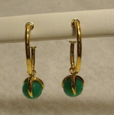 MANAGER SPECIAL New CHRYSOPRASE Hoop Earrings 18k Yellow Vermeil