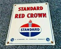 "STANDARD ""RED CROWN GASOLINE"" 15"" x 12"" PORCELAIN VINTAGE STYLE GAS & OIL SIGN!!"