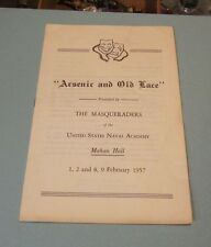 1957 United States Naval Academy Masqueraders Arsenic and Old Lace Play Program