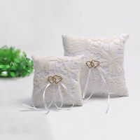 Double Heart Wedding Pocket Ring Pillow Cushion Bearer Crystal Rhineston BH