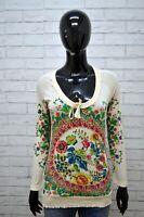 DESIGUAL Maglia Donna Taglia XS Maglietta Blusa Manica Lunga Viscosa Shirt Woman