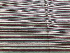 2 Yards Of Cranston Print Works Maroon, Green & Off White Stripes Cotton Fabric