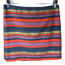 J Crew Womens Skirt Bottoms Shift Orange Purple Gold Metallic Striped Size 2