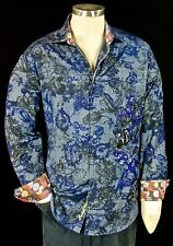 "Robert Graham ""Lake Lisan"" NWT $498 Limited Edition Blue & Gray Floral Large"