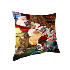 Keeshond Dog & Puppies Sleeping with Santa Throw Pillow 14x14