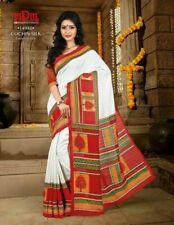Indian Designer White red silk paint  Border Bollywood Sari  Party Wear Saree