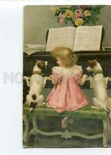 279723 Cute Girl Piano Jack Russell Terrier Vintage H&S Pc