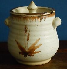 A studio floral design stoneware jar with slotted lid PW-  Powdermills Pottery