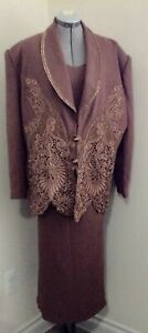 Custom brown 3pc long skirt cami lace beadwork embellished tunic jacket 2x 3X