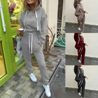 2PCS Set Women's Hoodies Sport Tops Sweatshirt Track Pants Sweat Suits Tracksuit