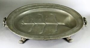 """= Antique 1851-1870 Lg Pewter Warming Meat Dish 24"""" James Dixon & Sons Sheffield"""