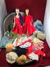 Vintage 1963 Barbie/Midge Travel Pals Round Case/Doll/Clothes/Wigs Lot Tags VGC