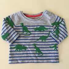 "Mini Boden Awesome Baby Boys Grey ""STRIPED DINO"" Long Sleeve Shirt. 3-6 Months."