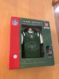 New York Jets Team Jersey Holiday Ornament Laser Etched Illuminated from Within