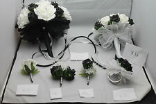 WEDDING  BOUQUETS BUTTONHOLES CORSAGE PACKAGE BLACK & WHITE ** 22 PIECES £185**