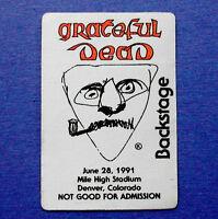 Grateful Dead Backstage Pass Denver Colorado 6/28/91 6/28/1991 Jerry Garcia Art