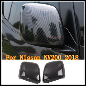 ABS CARBON FIBER SIDE DOOR REARVIEW MIRRORS COVER TRIM FOR NISSAN NV200 2018