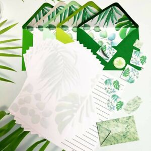 Letter Writing Set Tropical Leaf Monstera Palm Eucalyptus 10 A5 Sheets Envelopes