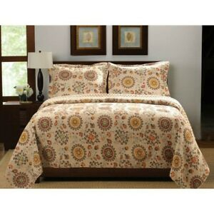 Full Queen Bedspread Quilt Retro Moon Shaped Floral Medallion Pattern Reversible